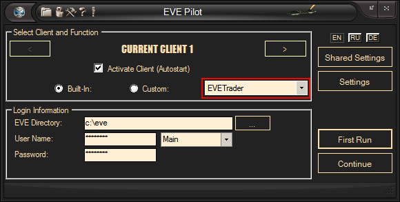 EVE Trade Bot Front Page