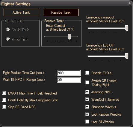 eve online bot, eve pilot - fighter settings