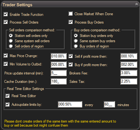 EVE Online Trade Bot Settings